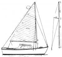 Боковой вид и план парусности яхты