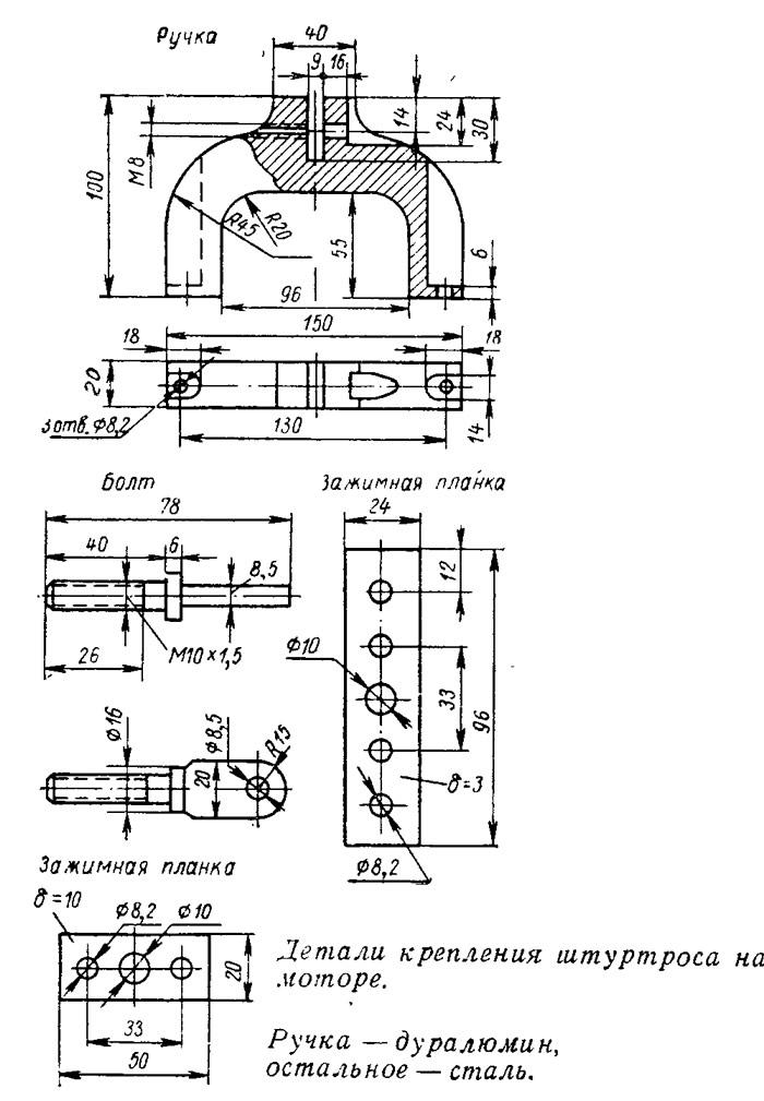 Детали крепления штуртроса на моторе