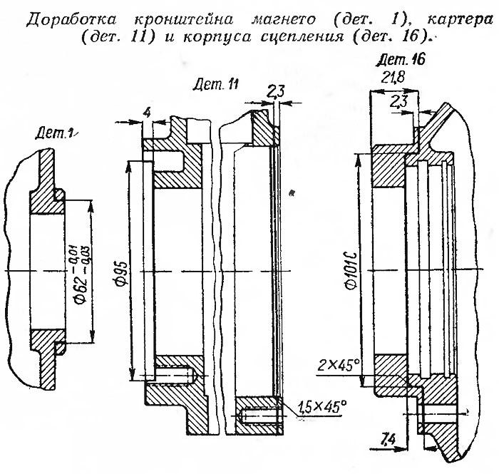 Доработка кронштейна магнето, картера и корпуса сцепления