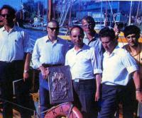 Экипаж яхты-победителя «Кама» - капитан Г. Лобыничев