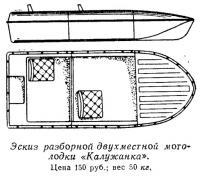 Эскиз разборной двухместной мотолодки «Калужанка»
