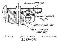 Эскиз установки сальника 2.215-000
