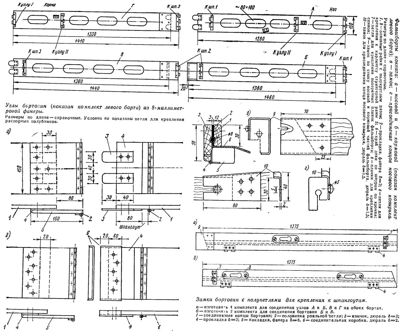 Фальшборт кокпита и узлы и замки бортовин