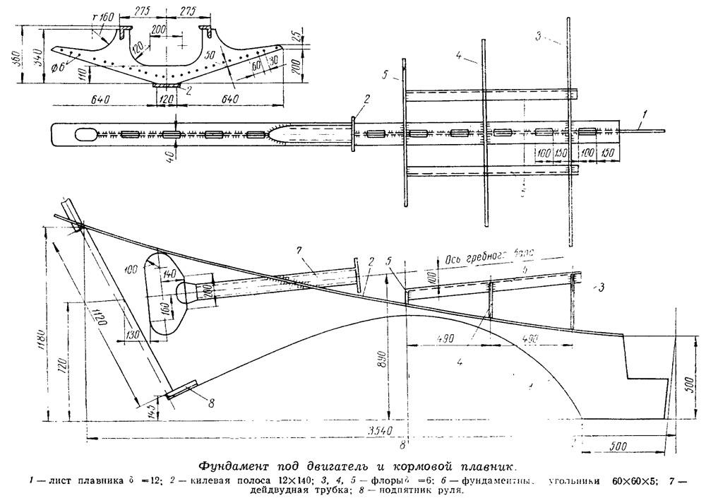 Фундамент под двигатель и кормовой плавник