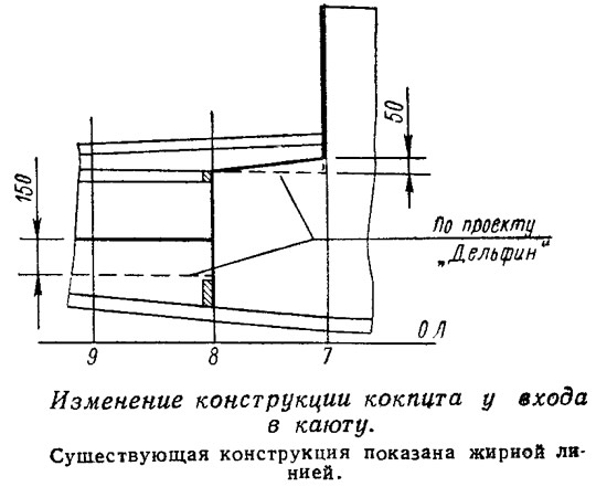 Изменение конструкции кокпита у входа в каюту