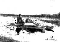 Катамаран из двух «полуторок» типа «Север» на ходу под мотором