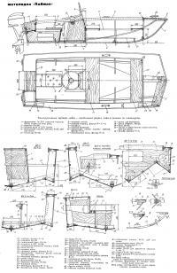 Конструктивные чертежи лодки — продольный разрез, план и сечения по шпангоутам
