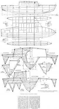 Конструктивный чертеж и сечения по шпангоутам
