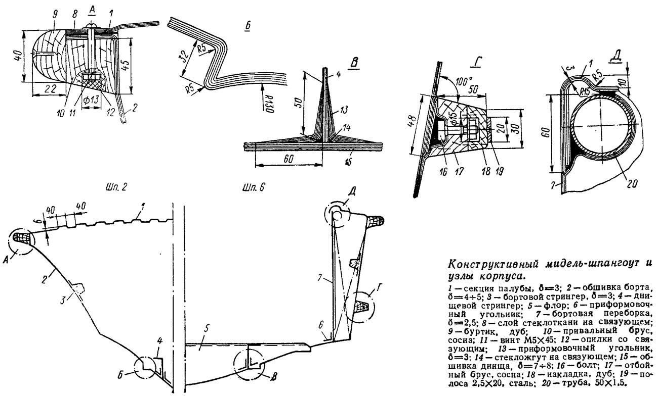 Конструктивный мидель-шпангоут и узлы корпуса