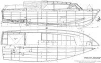 Конструктивный продольный разрез, план палубы и трюма