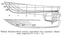 Корпус быстроходного катера, пригодный для широкого диапазона скоростей