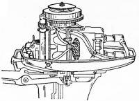 Крепление переходной колодки и розетки на моторе