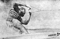 Крис Ла Пойнт на новой лыже из пластика. Обратите внимание на положение локтя «тросовой» руки