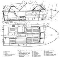 Общее расположение варианта катера со стационарным мотором