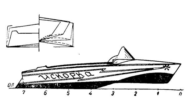 Общий вид и корпус теоретического чертежа мотолодки «Искорка»