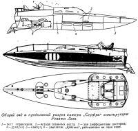 Общий вид и продольный разрез катера Серфри