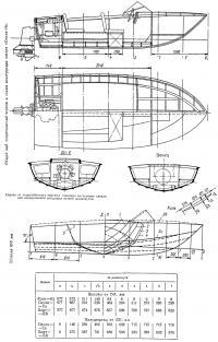 Общий вид, теоретический чертеж и схема конструкции катера