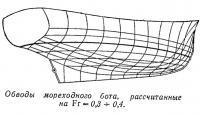 Обводы мореходного бота, рассчитанные на Fr = 0,3-0,4
