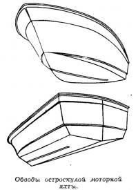 Обводы остроскулой моторной яхты