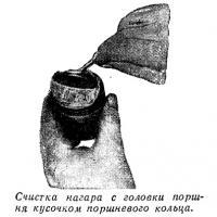 Очистка нагара с головки поршня кусочком поршневого кольца