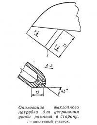 Опиливание выхлопного патрубка для устранения увода румпеля в сторону