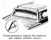 Открывающееся внутрь для вентиляции каюты лобовое стекло