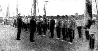 Парад участников принимает адмирал И. И. Байков
