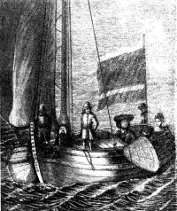 Петр I и Екатерина I катающиеся в шняве на Неве