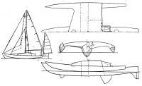 План парусности и проекции корпуса «Три чиес»