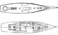 План верхней и жилой палуб