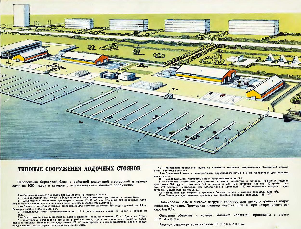 Примерная компоновка типовых сооружений для береговой базы на 1000 лодок