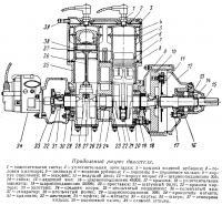 Продольный разрез двигателя