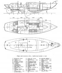 Продольный разрез и план яхты