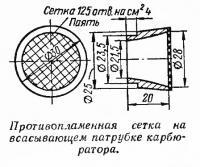 Противопламенная сетка на всасывающем патрубке карбюратора