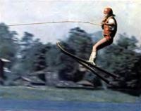 Прыжок совершает рижанка Г. Франева