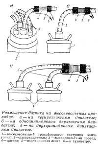 Размещение датчика на высоковольтных проводах
