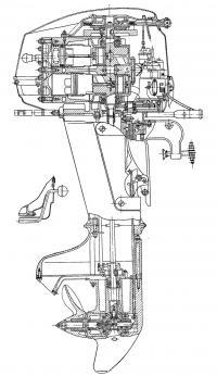 Разрез подвесного мотора «Ока-16»