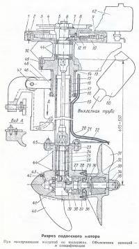 Разрез подвесного мотора