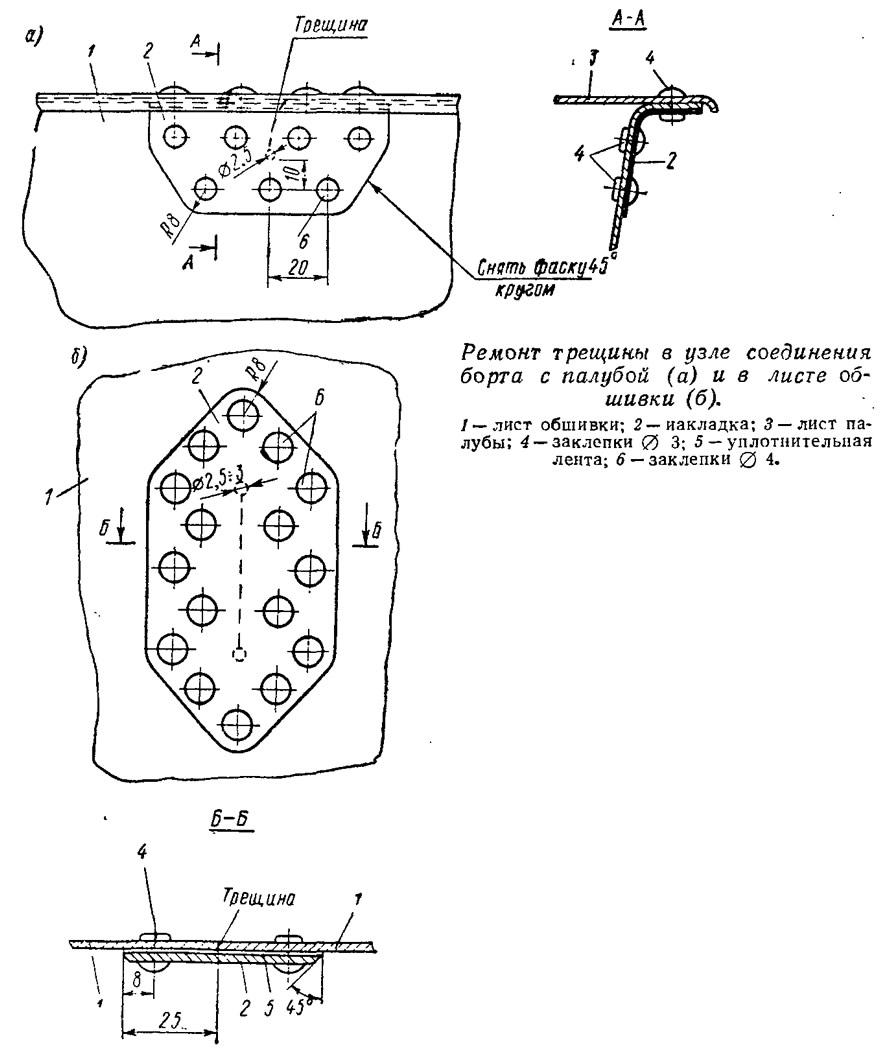 Ремонт трещины в узле соединения борта с палубой