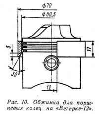 Рис. 10. Обжимка для поршневых колец на «Ветерке-12»