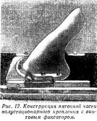 Рис. 12. Конструкция пяточной части полустационарного крепления с винтовым фиксатором