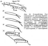Рис. 14. Устройства для повышения К крыльев экранопланов