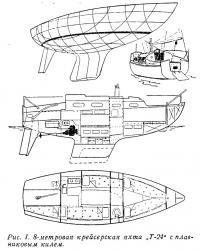 Рис. 1. 8-метровая крейсерская яхта Т-24 с плавниковым килем