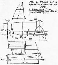 Рис. 1. Общий вид и крыльевая схема катамарана