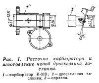 Рис. 1. Расточка карбюратора и изготовление новой дроссельной заслонки