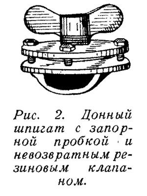 Рис. 2. Донный шпигат с запорной пробкой