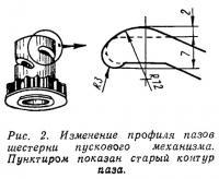 Рис. 2. Изменение профиля пазов шестерни пускового механизма