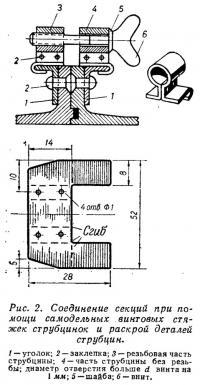 Рис. 2. Соединение секций при помощи самодельных винтовых стяжек
