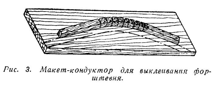 Рис. 3. Макет-кондуктор для выклеивания форштевня
