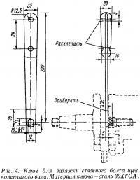 Рис. 4. Ключ для затяжки стяжного болта щек коленчатого вала